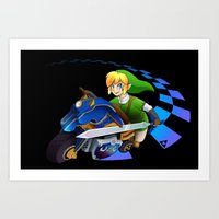 mario kart Art Prints featuring Mario Kart 8 - Link on the Mastercycle by brit eddy