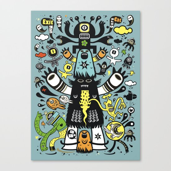 Guru Cat (blue time) Canvas Print