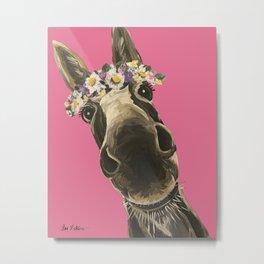 Pink Donkey Art, Flower Crown Donkey Art Metal Print