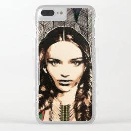 Boho Girl, unique stencil art painting with embroidery Clear iPhone Case