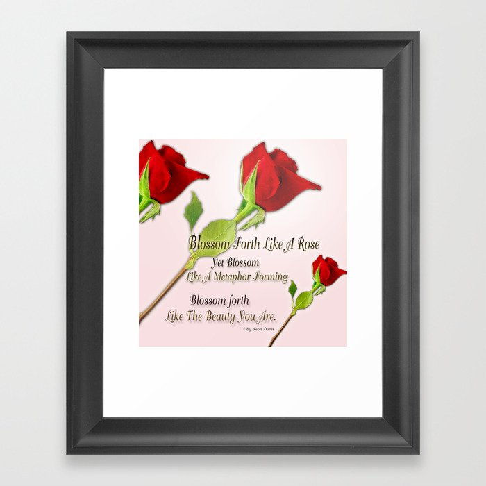 Red, Rose And pink With Quote Framed Art Print