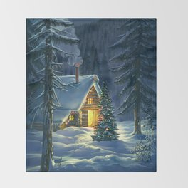 Christmas Snow Landscape Throw Blanket