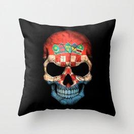 Dark Skull with Flag of Croatia Throw Pillow