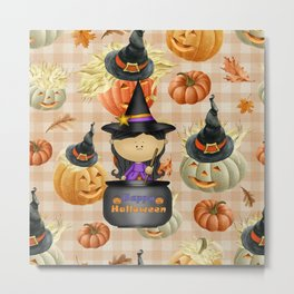 Pumpkins and Witch Metal Print
