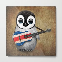 Baby Penguin Playing Costa Rican Flag Acoustic Guitar Metal Print