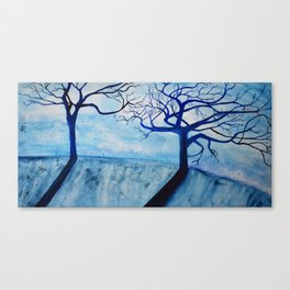 Pair of Blue Trees on a Hill Canvas Print
