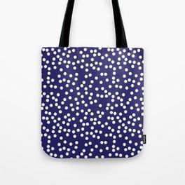 Navy Blue and White Polka Dot Pattern Tote Bag