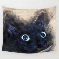 black cat Wall Tapestries featuring Black cat by jbjart