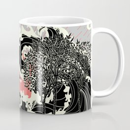 Art nouveau landscape with black trees and ocean waves Coffee Mug
