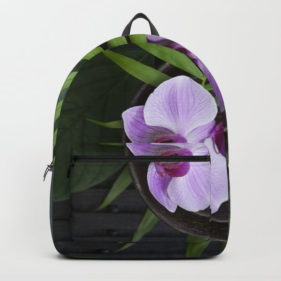 Zen Style Pink Orchid And Palm Leaf Backpack
