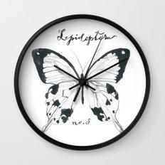 Lepidoptera Study Black & White Butterflies Wall Clock