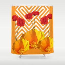 YELLOW & RED  POPPIES MODERN GOLDEN PATTERNS Shower Curtain