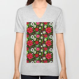 Christmas Flowers and Holly, Poinsettia, Roses and Lilies, holidays, girls floral gift, gift for mom Unisex V-Neck