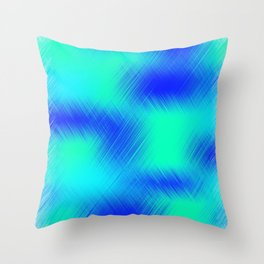 Blue and Green Patches Throw Pillow