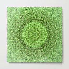 Sunflower Feather Bohemian Leaf Pattern \\ Aesthetic Vintage \\ Green Teal Aqua Color Scheme Metal Print