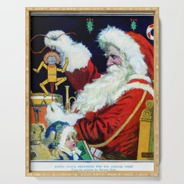 Santa Claus preparing to deliver toys Serving Tray