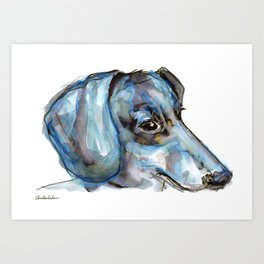 Dachshund with blues and silver Art Print
