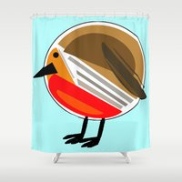 robin Shower Curtains featuring Robin by slaterkerry