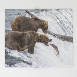 The Catch - Brown Bear vs. Salmon Throw Blanket