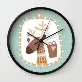 Funny Christmas Reindeer Wall Clock