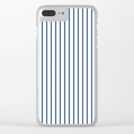 Iris Blue Pinstripe On White Clear iPhone Case