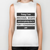 michael scott Biker Tanks featuring Today I am Michael Scott by The LOL Shop
