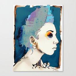 the sharkfin hair lady Canvas Print