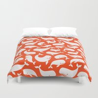 moby Duvet Covers featuring Moby Dick - Red by Drivis