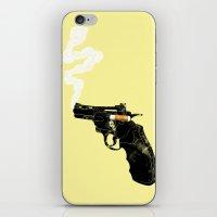 gun iPhone & iPod Skins featuring Smoking Gun by victor calahan