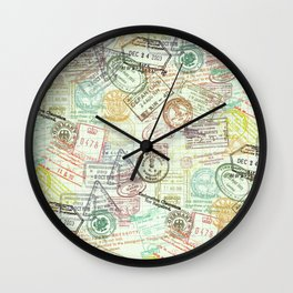 Passport Stamps Wall Clock