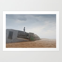 World war bunker ocean Art Print