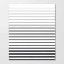Gray and White Ombre Stripes Canvas Print