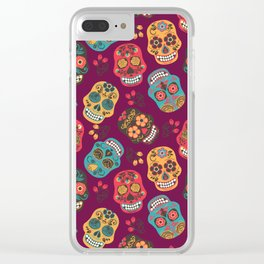 Sugar Skull Pattern Clear iPhone Case