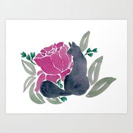 Floral Cat Art Print