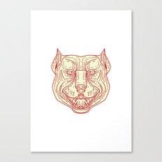 Pitbull Dog Mongrel Head Mono Line Canvas Print