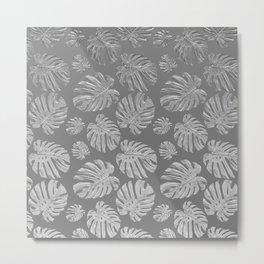 monstera silver pattern Metal Print