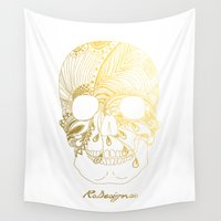 gold foil Wall Tapestries featuring Gold Foil Patterned Skull by RsDesigns
