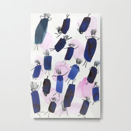Free falling of the girls in the bright blue garments Metal Print
