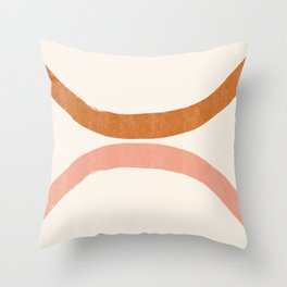 Terracotta Mid Century Abstract Rainbow Arches Throw Pillow