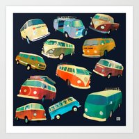 volkswagon Art Prints featuring Kombi Heaven by Buster Fidez