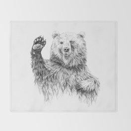 Waving Bear Throw Blanket