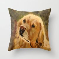 golden retriever Throw Pillows featuring Golden Retriever by Tidwell