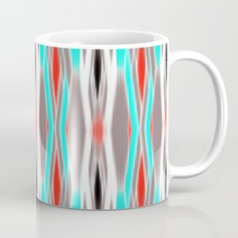 ikat geo in bright turquoise and a splash of red Coffee Mug