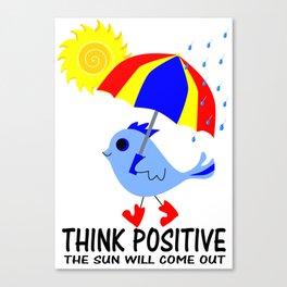 Blue Bird Think Positive Image Canvas Print