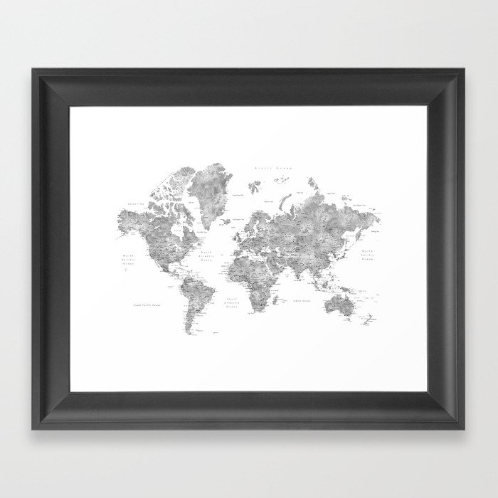 Grayscale watercolor world map with cities Gerahmter Kunstdruck
