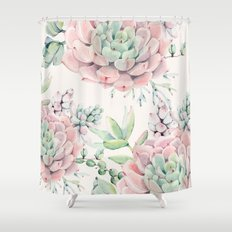 Pink Succulents Shower Curtain