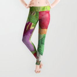 Mixed Vegetables Watercolor Leggings
