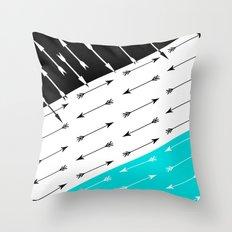 Turquoise black white pattern Boom 2 . Throw Pillow