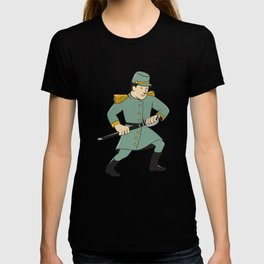 Confederate Army Soldier Drawing Sword Cartoon T-shirt