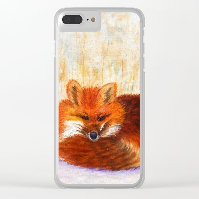 Red fox small nap | Renard roux petite sieste Clear iPhone Case